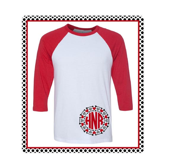 Monogrammed Valentine's Day Shirt with Hearts and Arrows / Valentine T-shirt / Monogram Soft Unisex Raglan / Baseball T-Shirt- (B3200) #1351