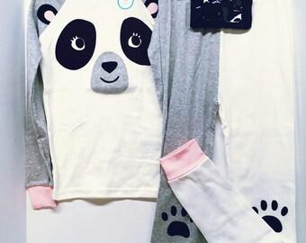 Type 1 pj set with Window pouch / size 10 / cute Panda Bear