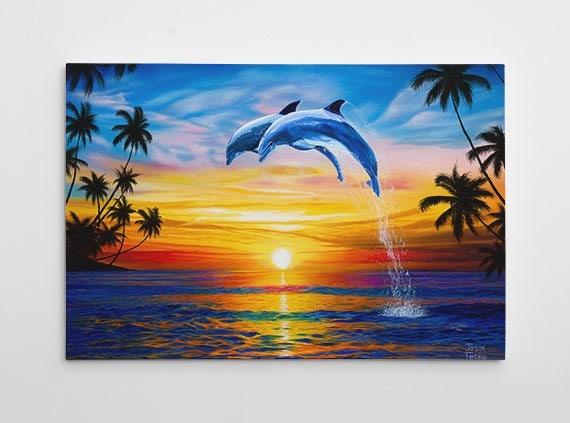 Dolphin Sunset Canvas Gallery Wrap Large Dolphins Art Ocean