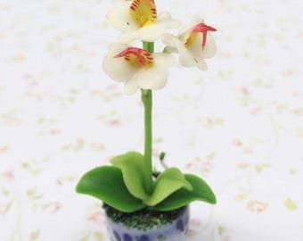 MidYear Sale15% Miniature Orchid,Miniature Flower Pot,Miniature Orchid Flower,Dollhouse Flower,Miniature Garden,Dollhouse Orchid,Fairy Garde