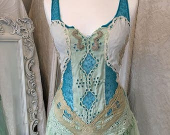 Gypsy wedding dress in aqua tones,bridal gown mermaid look,wedding dress fantasy, out door wedding dress,garden wedding dress,rawrags,boho