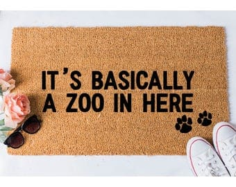 Zoo In Here Doormat   Dog Doormat   Funny Doormat   Funny Doormats    Welcome Mat