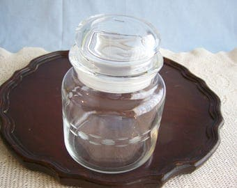 Round Anchor Hocking Etched Apothecary Jar with Lid Clear Glass  Storage Jar Canister 1960s