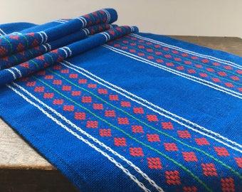 Swedish blue red napkin Woven napkin Bright blue red table runner