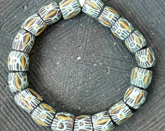 AFRICAN TRADE BEADS, ~ Hand Painted Recycle Glass Beads From Ghana.