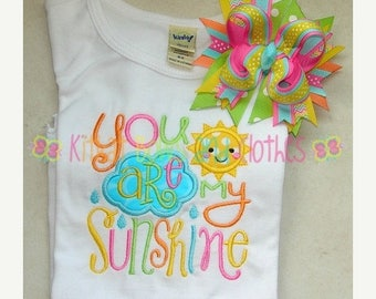 ON SALE You Are My Sunshine Applique Shirt and Matching Hairbow