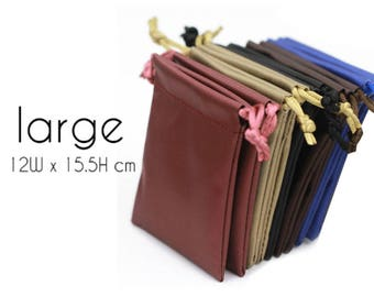 50 (Large) PU Drawstring Pouches  - for Craft, Jewelry, Necklace, Earrings - Wedding Favors, Gifts Packaging