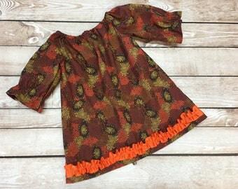 Girls Dress, Fall Dress, Girls Fall Dress, Girls Peasant Dress, Thanksgiving Dress, Girls Damask Dress, Girls Boutique Autumn Dress