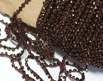 Vintage Iridescent Metallic Bronze Czech Glass Bead Trim Crochet Single Strand