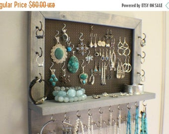 ON SALE You Pick The Satin and Mesh Wall Mounted Jewelry Organizer, Wall Organizer, Jewelry Display