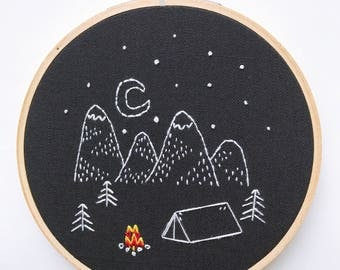 Happy Camper • Modern Hand Embroidery Hoop Wall Decor Art Embroidered Camping and Hiking in the Mountains with Starry Sky, gift for hikers