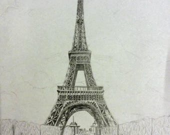 Detailed drawing of the Eiffel Tower. A4 pencil Art. Original Artwork.
