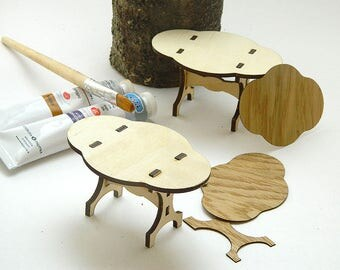 Table de marionnette en bois, meubles de poupée, jouet enfant, mobilier de maison de poupée, salle à manger meubles, découpe Laser, designer de contreplaqué, meubles de salle de