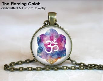 OM Symbol Pendant • Watercolour OM & Lotus • Namaste • Gift for a Yogi • Yoga Jewelry • BoHo OM • Gift Under 20 • Made in Australia (P1403)