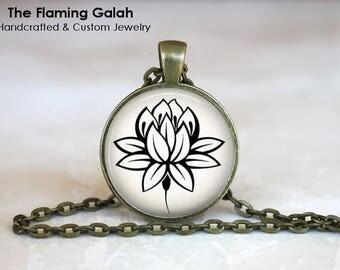 SIMPLE LOTUS Pendant • Sketch of Lotus Flower • Boho Lotus • Buddhist Flower • Yoga Flower • Gift Under 20 • Made in Australia (P1415)