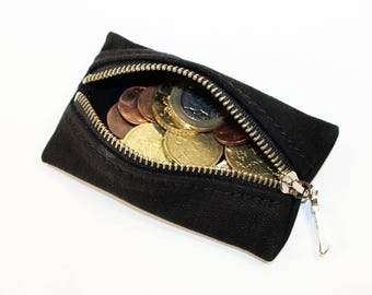 Leather coin wallet, black coin wallet, great leather item,black men's wallet, small coin wallet, gift for men, gift for women.