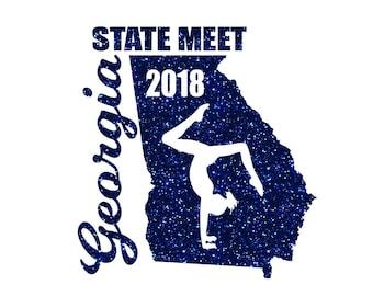 Georgia State Meet Iron on Decal