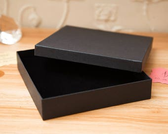 CLEARANCE - Black Square Kraft gift box. Wedding gift boxes. Square gift boxes. gift boxes. 14.5cm x 14.5cm x 2.8cm Large jewellery boxes