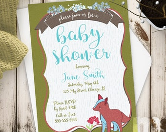 Fox Baby Shower Invitations, Baby Shower Invitations for Girl, Baby Shower Invitations for Boy, Baby Shower Cards, Sprinkle Invitation