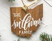 Ohio Ornament, Ohio Christmas Ornament, OH Ornaments, Personalized Family Ornament, Personalized Ornaments Ohio Home Decor