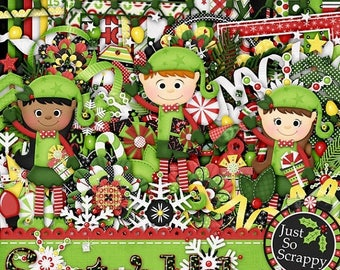 On Sale 50% Christmas, Holiday, Santas Helper, Digital Scrapbooking Kit
