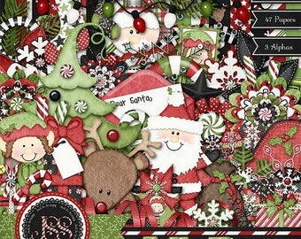 On Sale 50% Christmas, Holiday, Jolly Days, Digital Scrapbook Kit, Scrapbooking