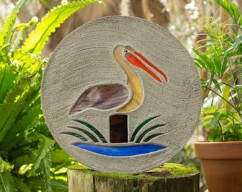 "Stained Glass Pelican Stepping Stone Large 18"" Diameter Made with Concrete and Stained Glass Perfect for Your Garden Patio or Backyard #783"