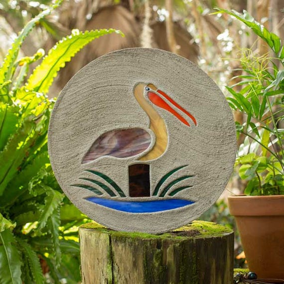 """Stained Glass Pelican Stepping Stone Large 18"""" Diameter Made with Concrete and Stained Glass Perfect for Your Garden Patio or Backyard #783"""