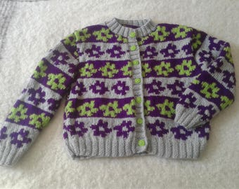 Flowery Sweater for Girls (10 years of Age)