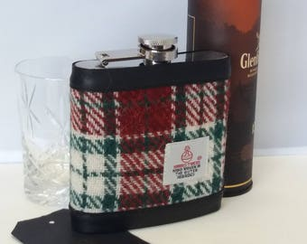 Harris Tweed Hip Flask / Leather / Red, Green and Cream checked / Festive