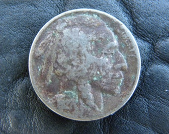1927 US circulated  authentic vintage Buffalo Indian Nickel coin full date  A141