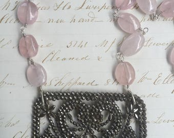 Gorgeous 19c French Steel Cut Buckle on Rose Quartz gemstone wire wrapped chain!