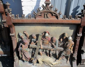 Antique Very Large Stations of the Cross 14 Pieces Church 3D Gothic Statue HTF