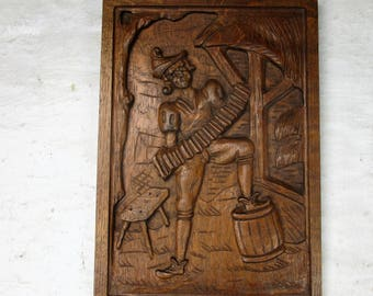 Vintage Hand Carved Wooden Wall Panel Plaque Harmonica Accordion Player
