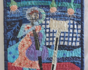 "Funky Fiddler 9""x9"" Fabric collage"