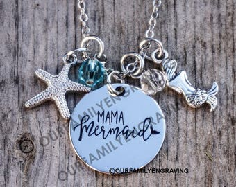 Mama Mermaid with charms pendant necklace starfish