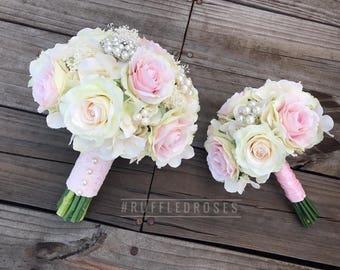 Pink and Ivory Bouquets Package, Blush and Ivory Bouquets, Blush Ivory Bouquet