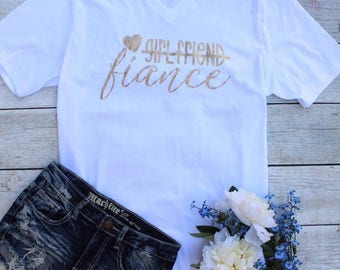 Fiance Vneck,Wedding, Bridal Party, Engagement, Proposal, I do, Bride, Graphic tee