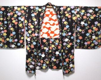 Japanese kimono silk haori black with gorgeous flower pattern