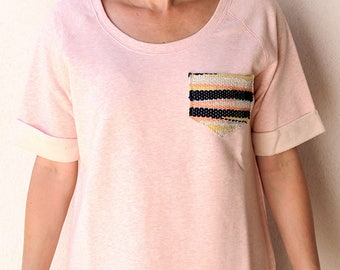 Sweatshirt in organic cotton, pink Heather, size L