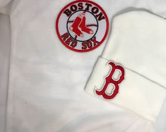 Bodysuit with Newborn Hospital Hat. Boston  1st Keepsake! GREaT GiFT! 1st Keepsake!