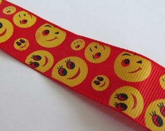 Pretty Red Ribbon patterned with yellow emoticons