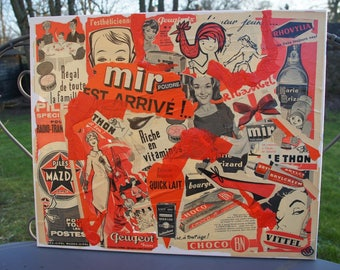 """""""RED PUBS"""" COLLAGE ON CANVAS 50-60 YEARS"""