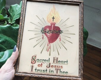 Antique Hand Painted Sacred Heart of Jesus