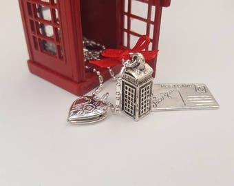 British Phone Box themed Charm Necklace