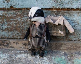 Badger Teddy toy 9 inches, artist teddy, teddy bear, handmade toy, OOAK