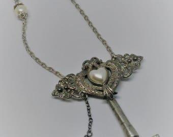 Vintage Skeleton Key Necklace w/ Vintage Pin