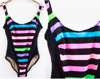 Black with Colorful Neon Stripes One Piece 90's Swimsuit