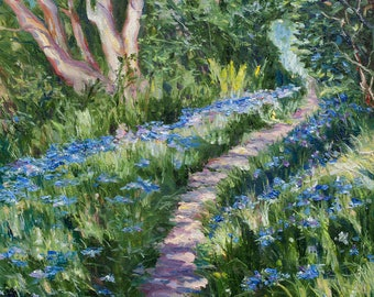 Oil Painting Forest Path Scottish Landscape Bluebells Original Artwork Home Decor Wall Decor Wall Hanging Art 40x50cm
