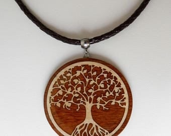 inlaid wooden necklace with Spool knitting cotton cord